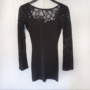Lace Bell Sleeve Bodycon Dress